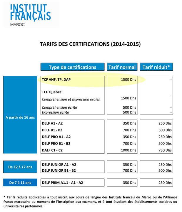 Les Tarifs des certifications TCF Test de connaissance du français