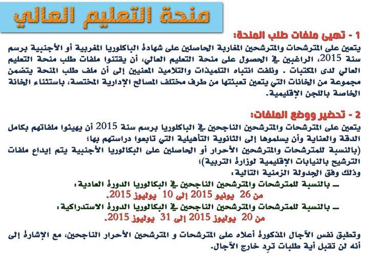 الوثائق المطلوبة للحصول على المنحة الجامعية بالمغرب 2015-2016