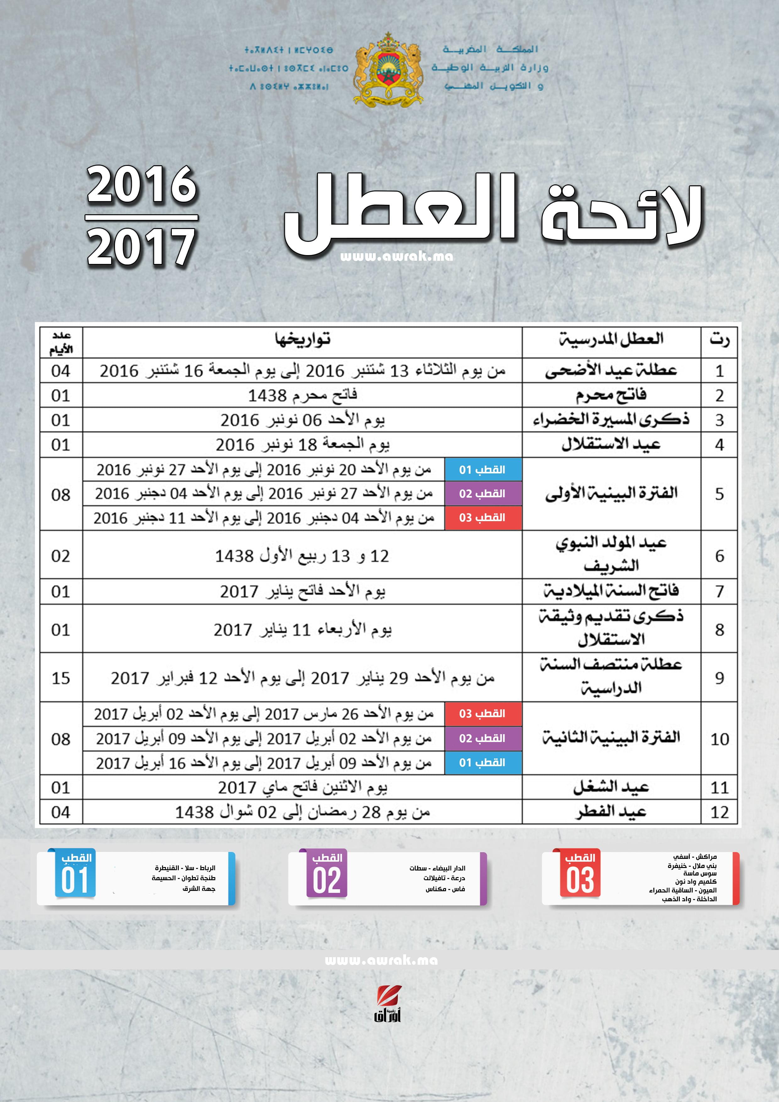 لائحة العطل المدرسية 2017-2016 بالمغرب