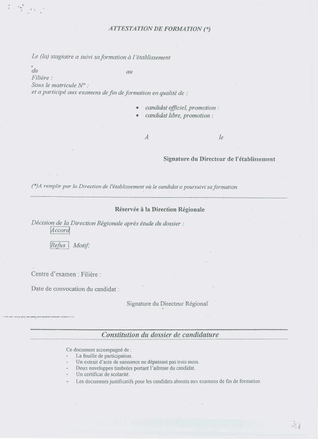 Attestation de Formation Candidat libre aux examens de fin de formation