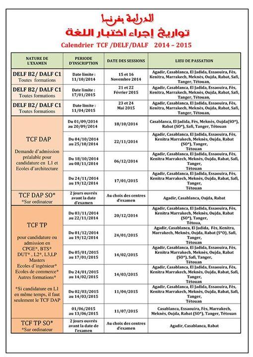 Calendrier des sessions TCF-DELF-DALF